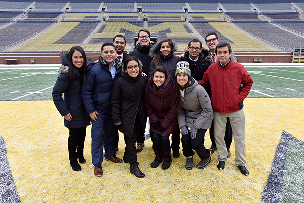 U-M students on the field